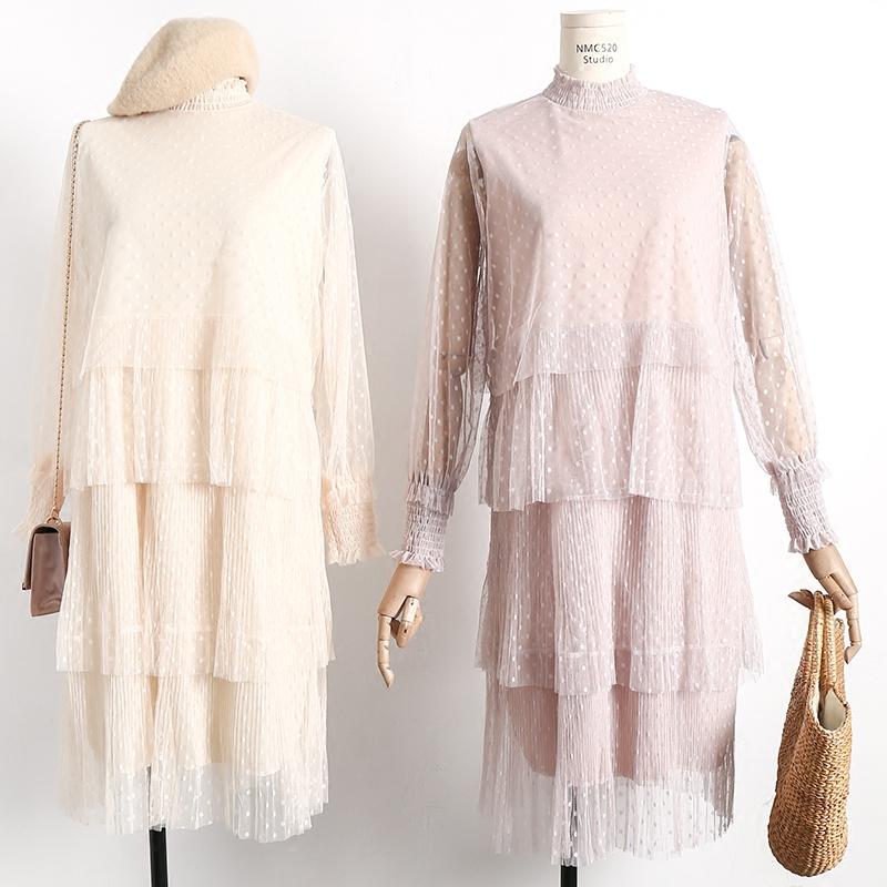 蓬蓬網紗連衣裙多層