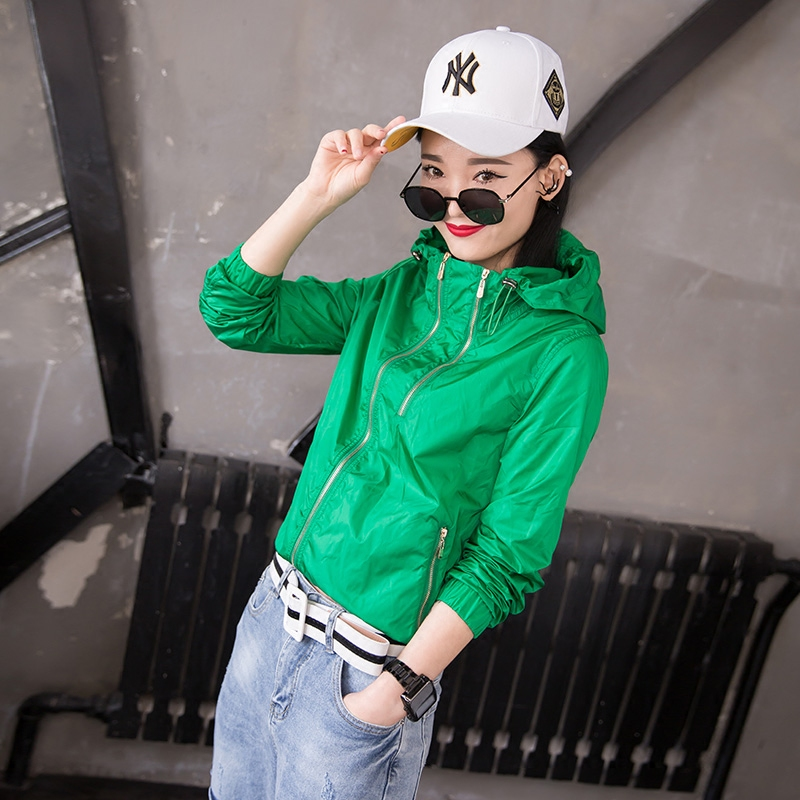 2018 spring and summer new Fashion Joker Hooded Long Sleeve Candy-colored Sun Protective Clothing Women