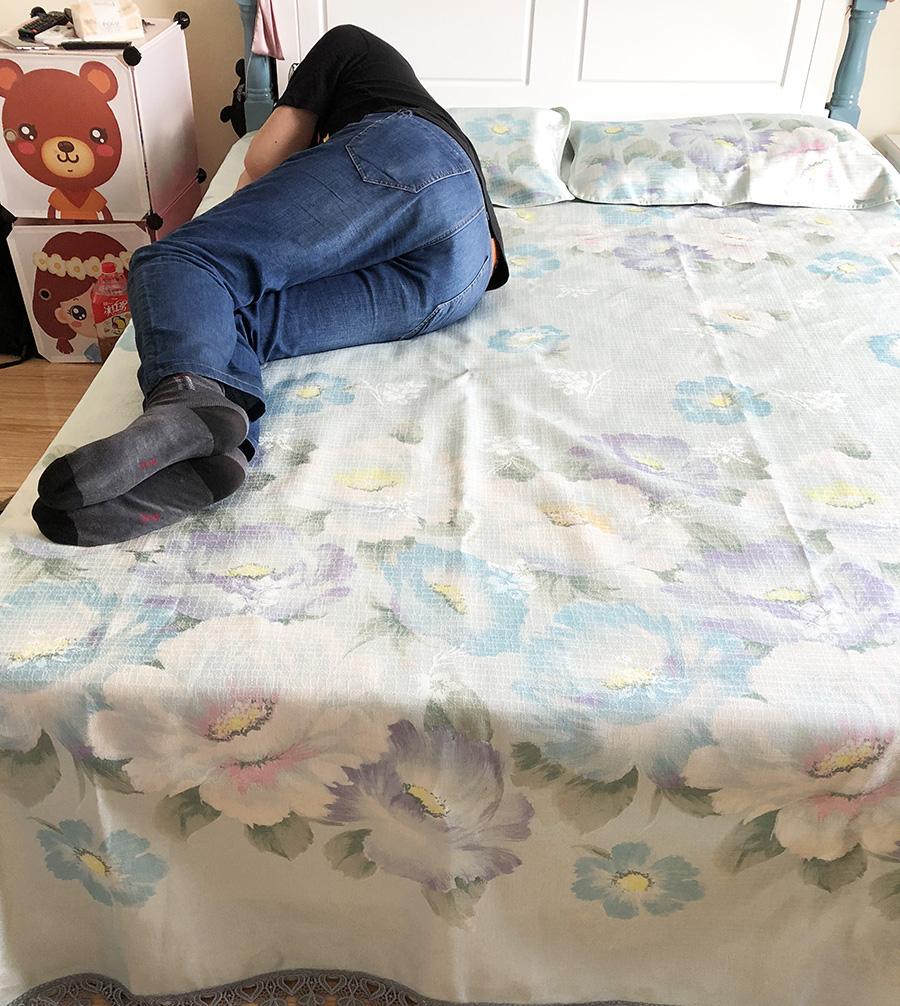水星家纺仲夏之蓝床单式粗丝冰丝席