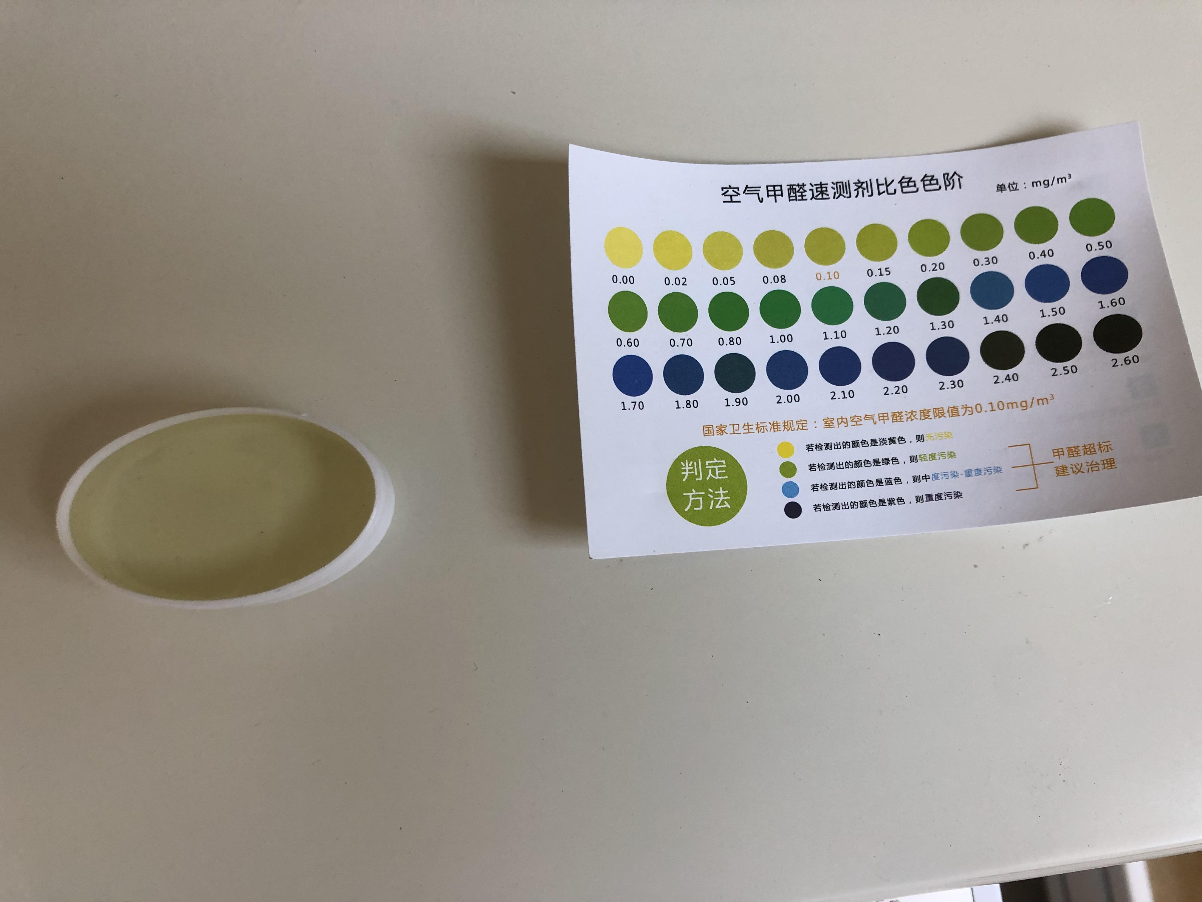 某品牌光触媒除甲醛产品有效性记录(比色卡比对)