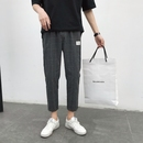 格子男裤直筒