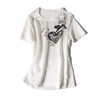 撞出新时尚爱心蝴蝶印花~春夏季新款真丝印花圆领短袖T恤上衣女37