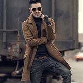 特价冬季羊毛呢子 型男双排扣大衣  男装中长款毛呢大衣外套F7034