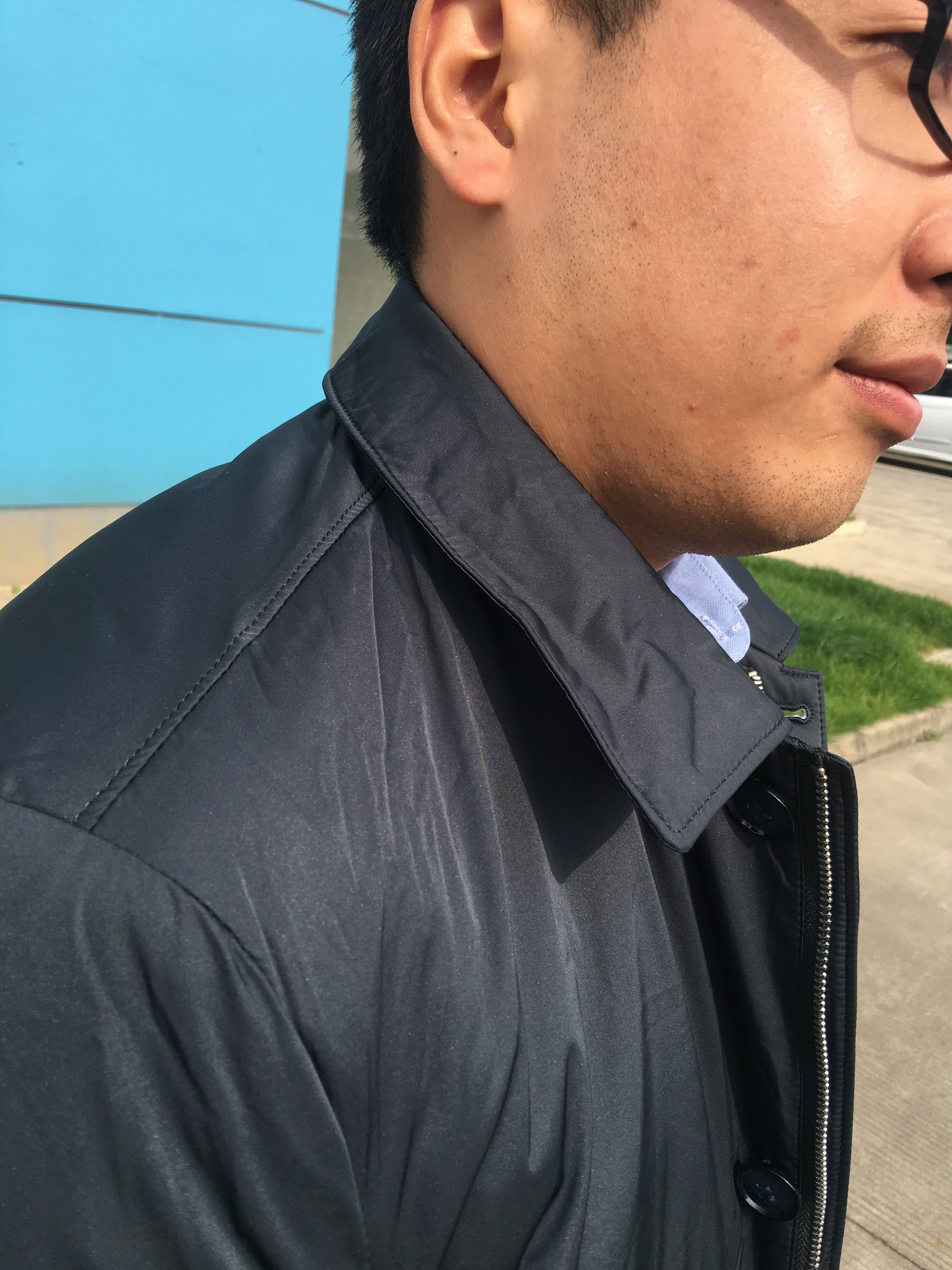 劲霸男士茄克立体中年男士保暖棉衣外套