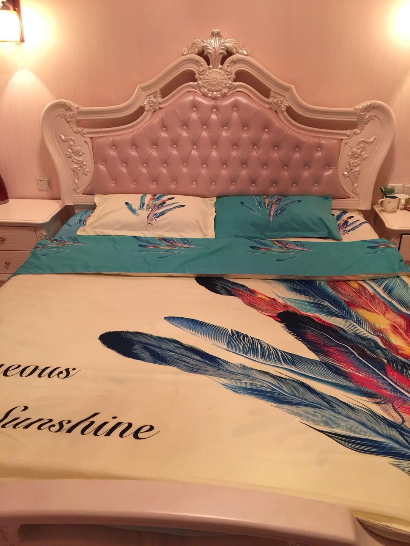 水星家纺全棉四件套被套1.8m床2.0m双人床单式被罩!