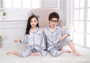 男童睡衣儿童冰丝绸睡衣小男孩家居空调服短袖长裤套装夏季薄款女