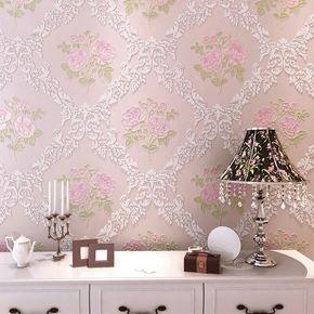 韩式田园主卧淡紫色玫瑰无纺布墙纸 浪漫温馨客厅卧室粉色壁纸