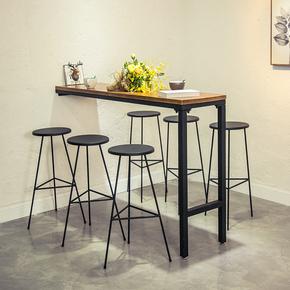 美式铁艺实木家用吧台桌椅简约奶茶店靠墙酒吧长方形高脚桌椅组合