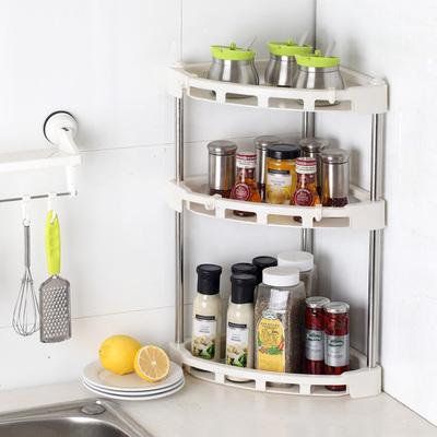 厨房置物架落地多层转角调料调味架三角架子收纳用品用具两层三层评测