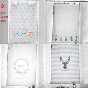 韩式简易窗帘布遮光出租房小窗户小帘子短帘半帘厨房卫生间咖啡帘