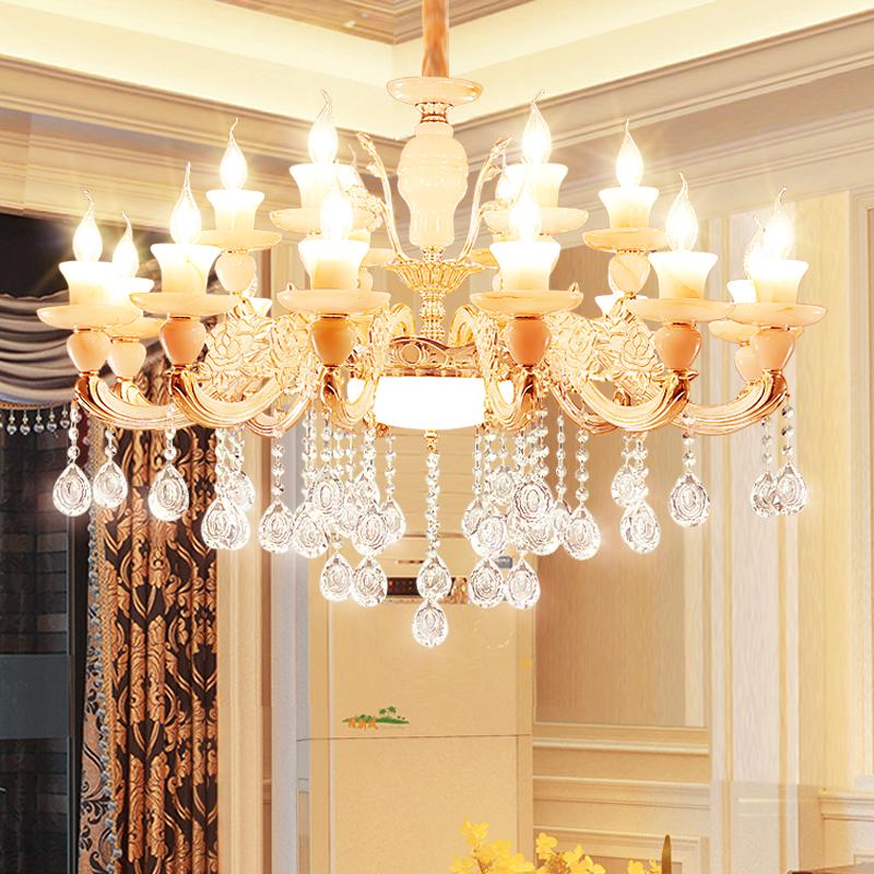 欧式玉石锌合金水晶吊灯蜡烛灯客厅灯卧室水晶吊约现代吸顶灯