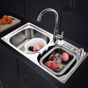 双槽淘菜盆水池厨房水槽不锈钢洗菜盆加厚大单槽304