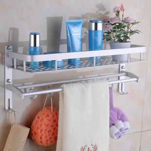 双层简约现代太空铝合金浴室厨房墙壁置物架子壁挂毛巾杆挂架托架