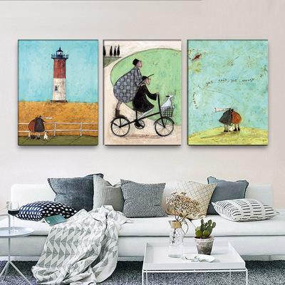 门厅饰品挂画家庭过道背景墙画瓷砖画布艺大气浪漫挂画装饰墙壁画评测