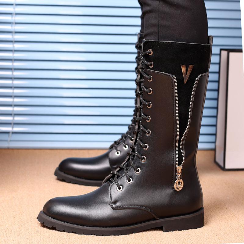 马丁靴男冬季加绒棉鞋靴韩版军靴男潮流时尚马靴男高筒靴演出靴子