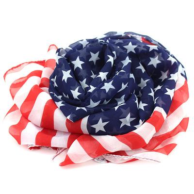 美国国旗图案星条旗欧美加长雪纺围巾供应披肩巾女士 水兵舞丝巾