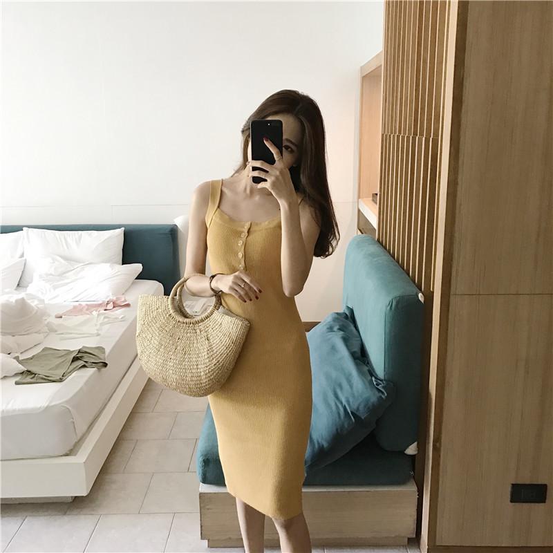 2019韩版针织无袖连衣裙女打底包臀紧身连体包裙夏季中长款背心裙