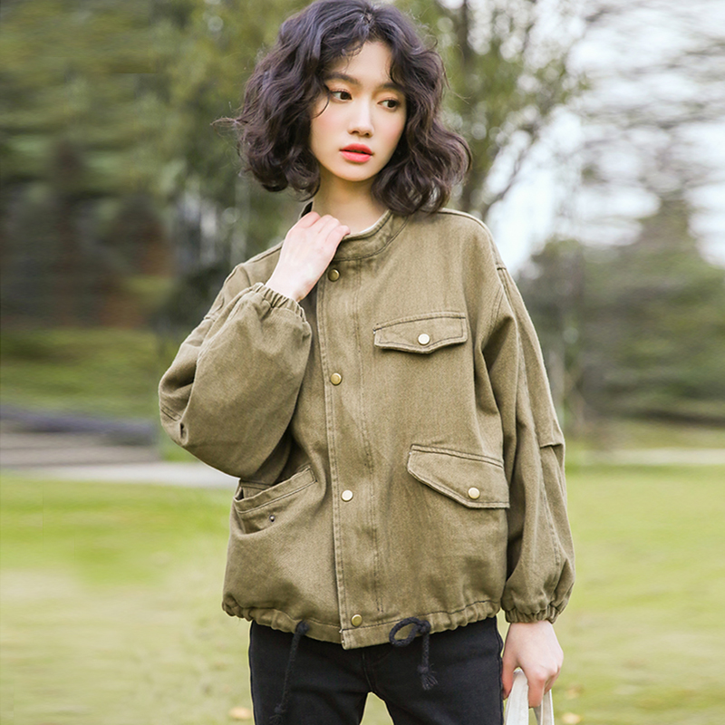 2018 early autumn tooling jacket female Korean version of the college wind loose wild short jacket
