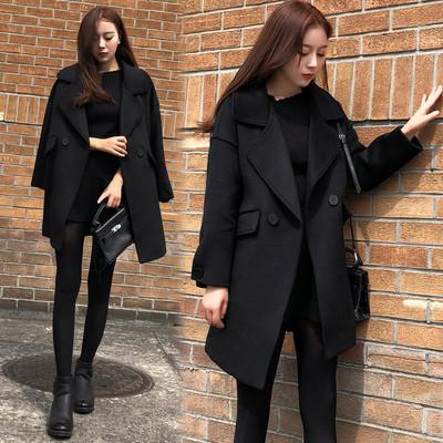 冬款韩版宽松显瘦呢子大衣中长款龙凤呢毛呢外套