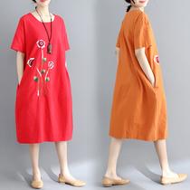 2018夏装新款韩版大码女装中长款刺绣花案连衣裙短袖圆领裙子夏