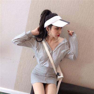 秋装新款可爱猫耳朵连帽长袖卫衣连衣裙女韩版拉链显瘦包臀短裙子
