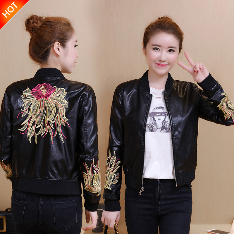 Autumn and winter new locomotive leather women short Korean version of the wild thin PU leather jacket embroidered