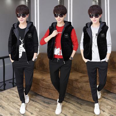 初中学生13-14-15-16岁男大童穿秋冬卫衣三件套运动休闲马甲套装