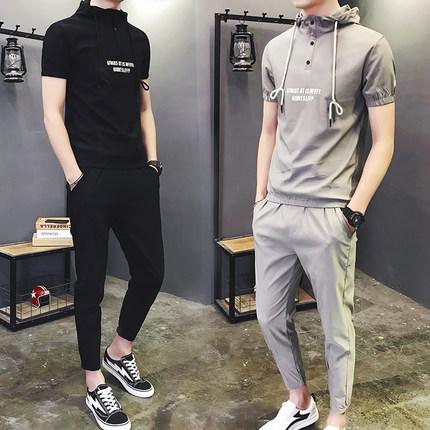 短袖t恤套装男韩版潮流个性帅气半袖夏季两件套2018夏天新款男装