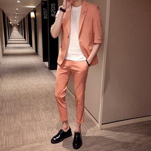 2019夏装 套装 西装 修身 新款 西服纯色英伦风中袖 中袖 九分裤 韩版 男装