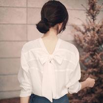 韩范衬衫女长袖2018春装新款宽松版百搭V领蝴蝶结心机上衣设计感