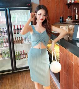 性感吊带前后两穿针织裙系带抽绳露腰修身包臀裙高腰显瘦连衣裙