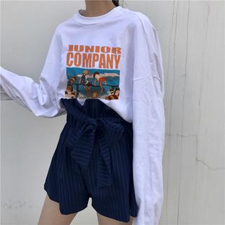 2019春季新款韩版女装上衣春装打底衫学生原宿圆领宽松长袖T恤