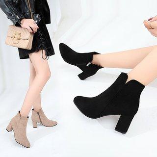 网女鞋靴子秋冬季新款尖头磨砂绒面短筒短靴粗跟跟马丁靴
