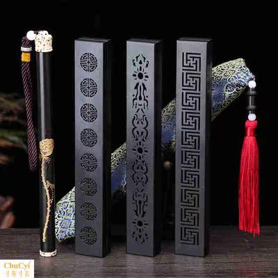 线香熏炉卧香炉 紫光檀黑檀实木雕刻镂空沉香檀香炉线香盒佛具