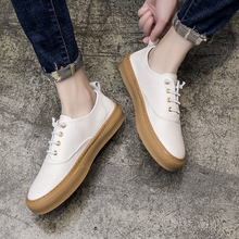 Men's shoes Korean version 2018 new youth wild low to help casual shoes trend men's leather shoes set foot Lok Fu shoes