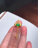 Gold inlaid ice green jade key
