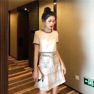 夏天时尚套装韩版小香风粗呢上衣+粗花呢半身裙流苏a字裙女两件套