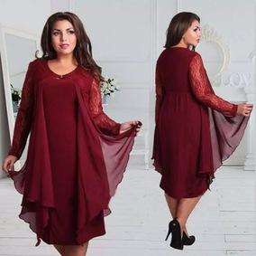 欧美外贸雪纺拼接蕾丝长袖胖MM大码中长款连衣裙
