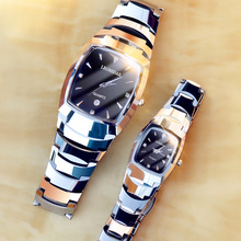 Super thin waterproof male lady tungsten steel watch couple watch pair square quartz ladies watch fashion wrist watch man