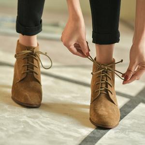 第一街系带小跟短靴女粗跟磨砂靴子女冬加绒保暖及裸靴高跟鞋女鞋