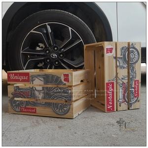 创意实木板条无盖收纳箱家居门店装饰组合车载储物箱彩印喷绘木箱