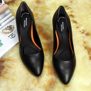 软皮舒适职业鞋久站工作鞋女黑色工装细跟高跟鞋百搭真皮空姐单鞋