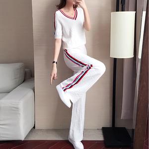 休闲阔腿裤套装女夏季2020新款洋气女士时尚冰丝针织运动服两件套