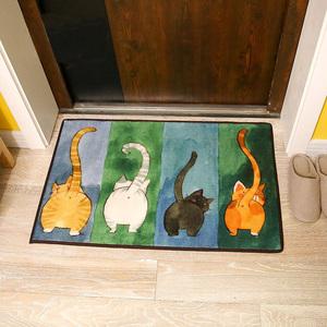 可爱猫咪日式地垫 入户门垫进门客厅地毯卧室脚垫门垫浴室防滑垫