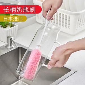 日本进口家用长柄洗杯刷奶瓶刷保温杯清洗海绵刷玻璃茶杯长瓶刷子