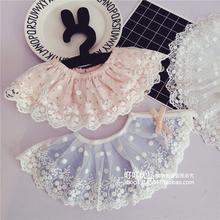 韩版婴童旋转棉围嘴 女宝宝纯棉公主口水巾 婴儿蕾丝花边围兜假领