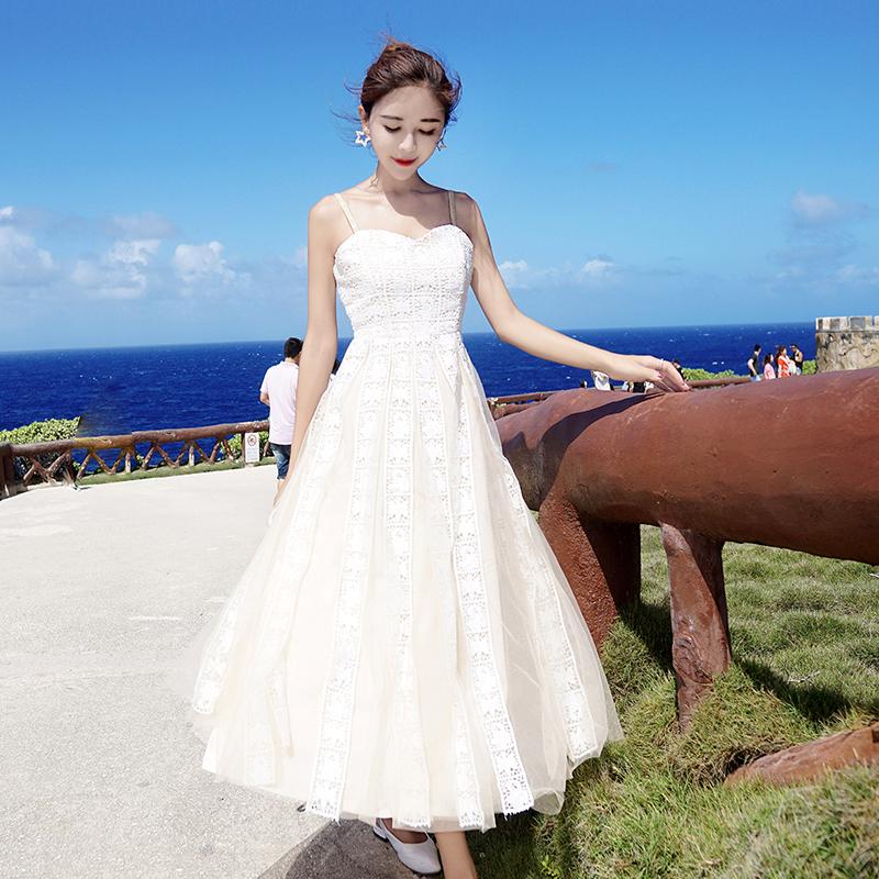 很仙的法國小眾超仙女復古山本吊帶連衣裙夏過膝海邊度假沙灘長裙圖片