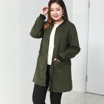 2018秋季新款加肥加大码女装中长款休闲外套 200斤胖妹妹宽松开衫
