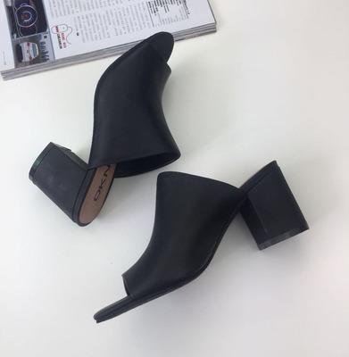 粗跟凉拖女夏外穿时尚欧美风2018新款网红凉拖鞋羊皮真皮高跟凉鞋