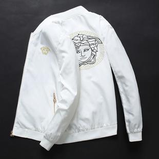 男外套欧洲站潮牌棒球领夹克美杜莎两面穿刺绣男装 潮流白色 春秋款